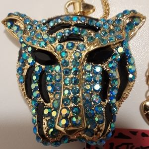Betsey Johnson tiger face, blue, brand new